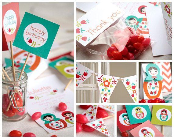 Babushka, shower de bébé, party anniversaire, à personnaliser et à imprimer par Lafabriqueabricole sur Etsy