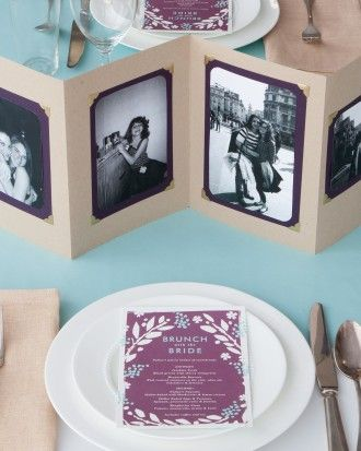 EASY-TO-PACK CENTERPIECES: When planning a shower at a restaurant, keep in mind your decor must travel. These accordion photo centerpieces were inspired by a Paper + Cup template that's a cinch to customize. Since they fold into perfect rectangles, they are easy-to-transport and still have a personal touch.