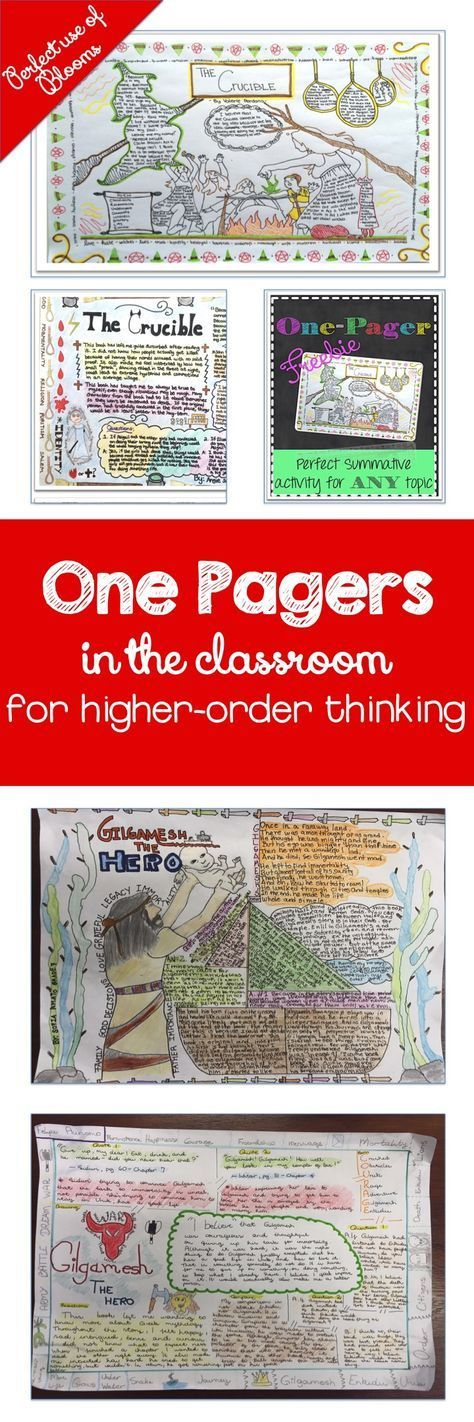 "One Pagers : Assessment for Higher-order Thinking Skills | Adventures in Teaching One Pagers are great because they encourage creative thinking. There is no ""right"" answer, there is do specific question the student needs to answer."