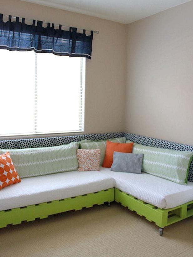 DIY Pallet Platform Bed: Thrifty Upcycling for Kids' Rooms --> http://www.hgtv.com/kids-rooms/thrifting-and-upcycling-for-kids-room-decor/pictures/page-2.html?soc=pinterest