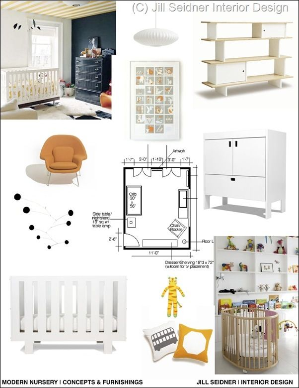 Perfect Interior Design Concept Board With Modern Nursery By Jill Seidner