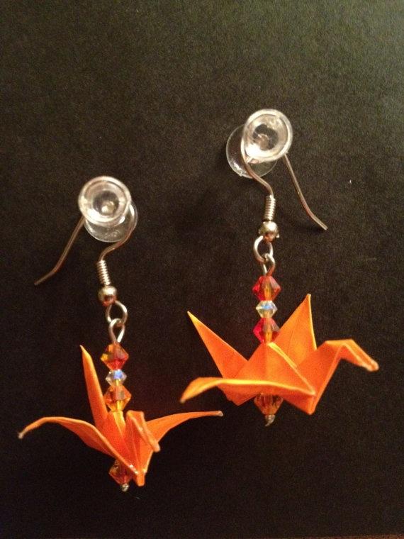 Origami crane earrings  $10