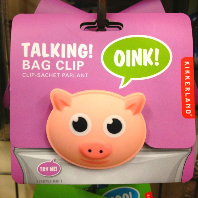 Talking pig bag clip @ Cost Plus World Market, $5.99