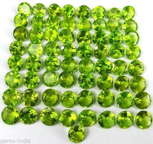AAA Quality 65 Piece Natural 82.90 Ct Peridot 6mm-7mm Round Faceted Gemstone