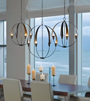 #HubbardtonForge is truly unique!  Hand-forged in Vermont, they keep with the trends that are popular right now!  Orbs and metal are huge in lighting, and #vtforge has these gorgeous pendants that complete the modern meets rustic look!  Expert tip: hang lights in odd groupings, it's more attractive to our eyes.  Hanging lights at different heights also creates drama!