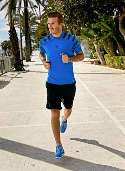 David Beckham runs in Adidas Climacool running shoe
