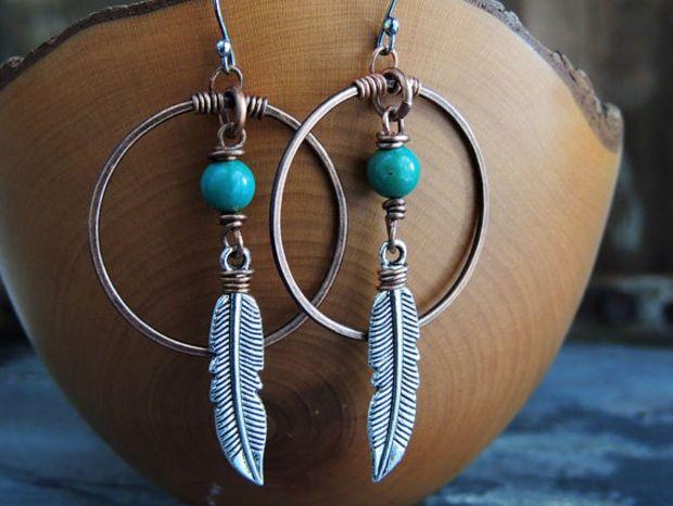 Tribal Earrings, Turquoise Earrings, Feather Charm, Large Copper Hoops, Southwest Jewelry, Native American, Boho Earrings