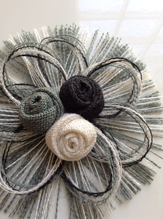 Grey, Black and White Burlap Flower Set of 3 - Home Decor