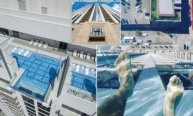 Dubbed the Sky Pool, the infinity pool is on the 42nd floor of the Market Square Tower and extends 10 feet over the side of the imposing building in Houston.