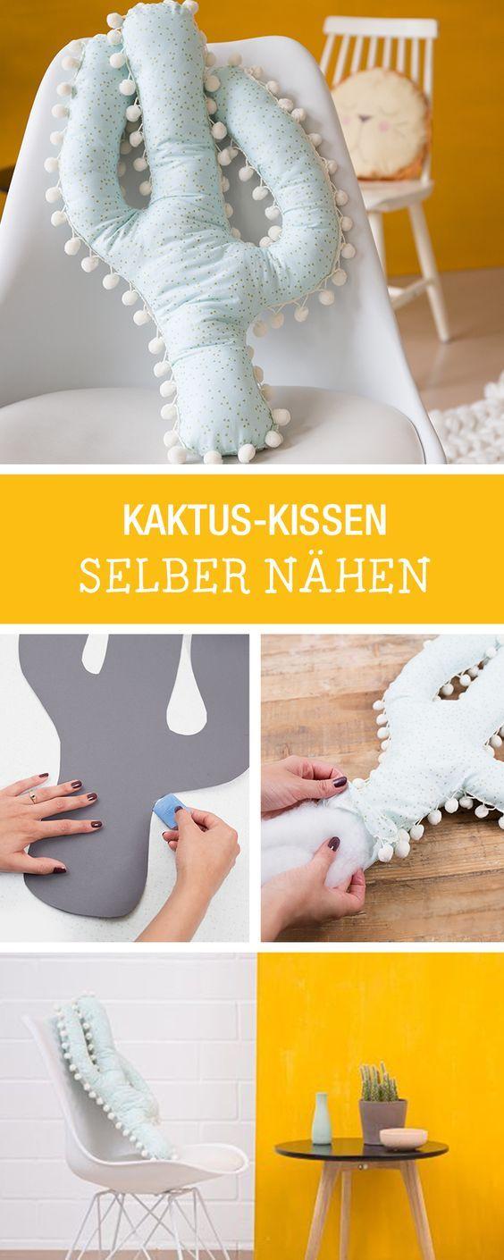 Kuschelige Nähanleitung fürs Zuhause: Kissen Kaktus nähen / how to sew a cushion in cacti shape via DaWanda.com