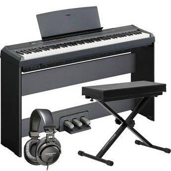 Yamaha P-105 88-Key Piano Home Studio Bundle (Black)