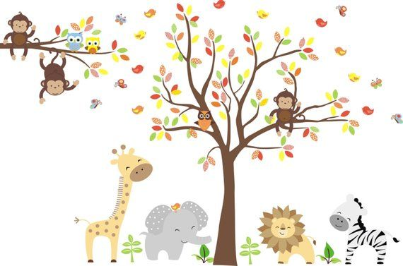 Zoo Animal Decals Wall Mural Zoo Zoo Themed Wall Decsals Etsy Animal Wall Art Nursery Nursery Wall Decals Elephant Decal