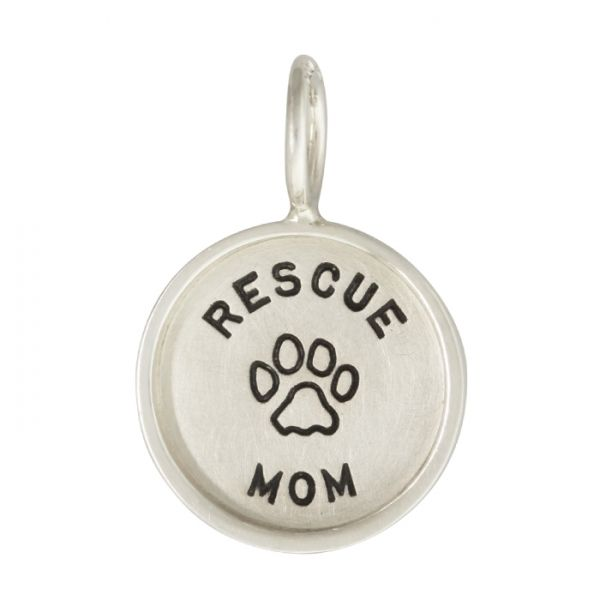 "Heather B. Moore Sterling Silver ""Rescue Mom"" with Paw Print Charm"