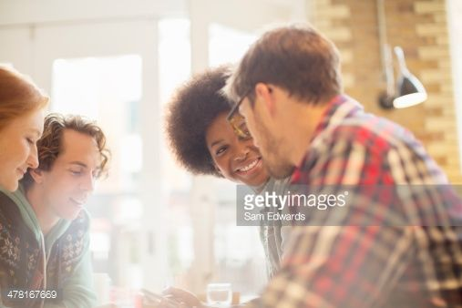 Stock Photo : Friends talking in cafe