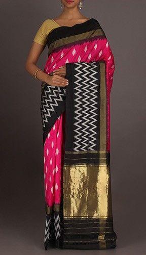 Vani Dockets And Zig Zag Smart Ikat Pochampally Silk Saree