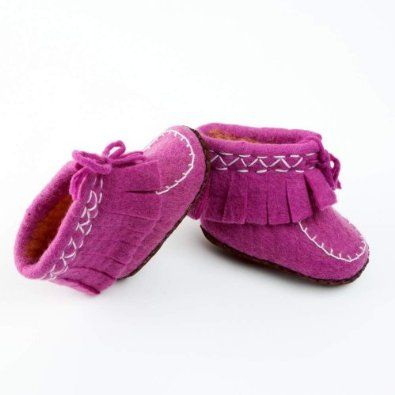 Indoor Mocassin Boot Slippers- Soft Eggplant (0-6 mnth Infant) Peppercorn Kids. $19.95