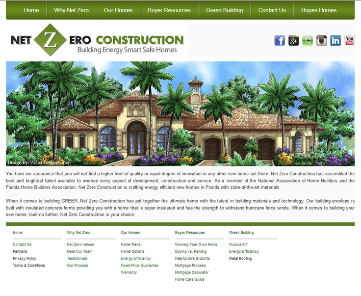Net Zero Construction is a Florida based GREEN home builder who is building Energy Smart Safe Homes. www.netzeroconstruction.net