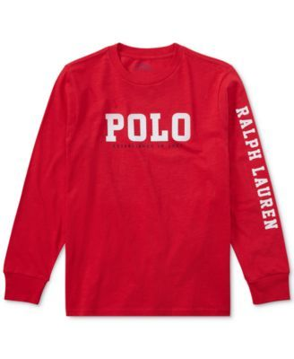 afbe6324f Ralph Lauren Big Boys Graphic-Print Long-Sleeve Cotton T-Shirt | macys.com