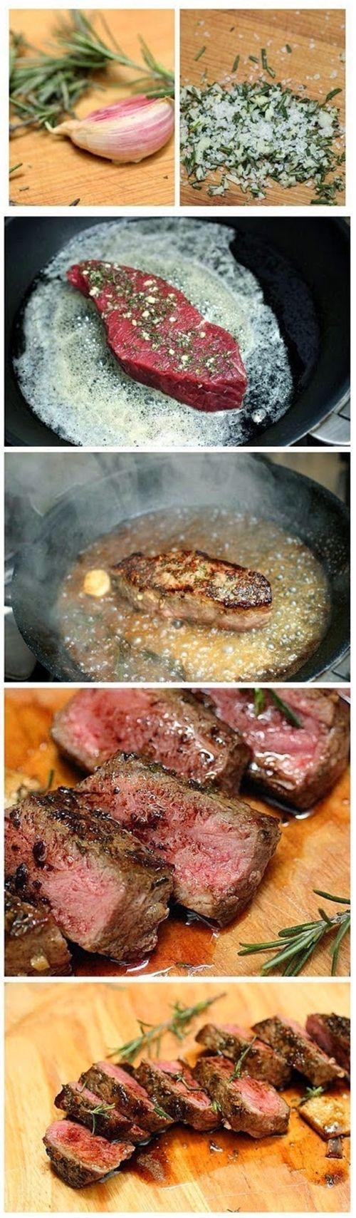 Rosemary Garlic Butter Steaks Recipe