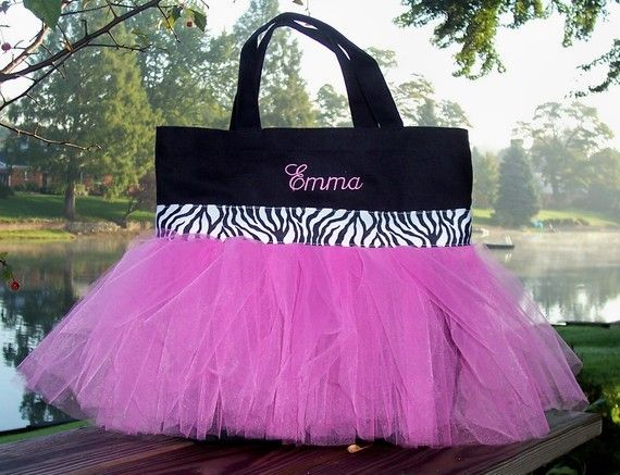 TB43 sac - sac noir avec Tulle rose chaud et noir et blanc Zebra ruban Tutu Tote Bag - danse brodé
