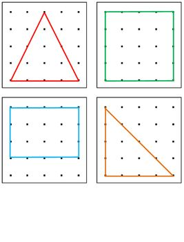 Geoboard Shapes and Numbers Task Cards - numbers 1-10, flat shapes and pictures such as a boat, tree, heart, butterfly and more!