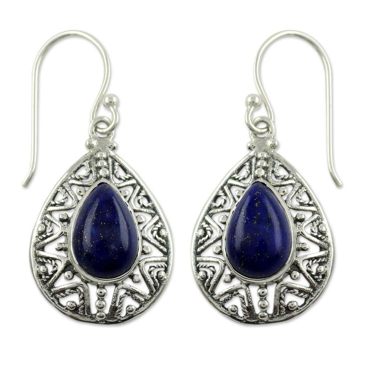 Novica Lapis Lazuli Dangle Earrings, 'Timeless Ganges'
