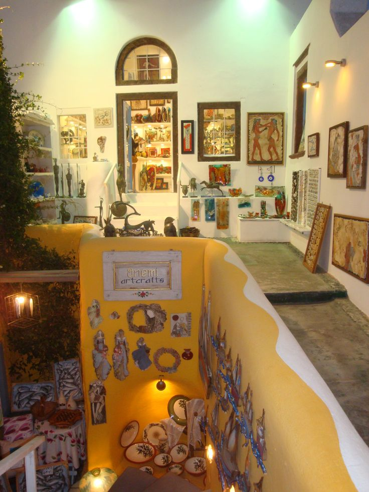 Typical Art & Craft shop in Oia, Santorini https://arturania.com/santorini