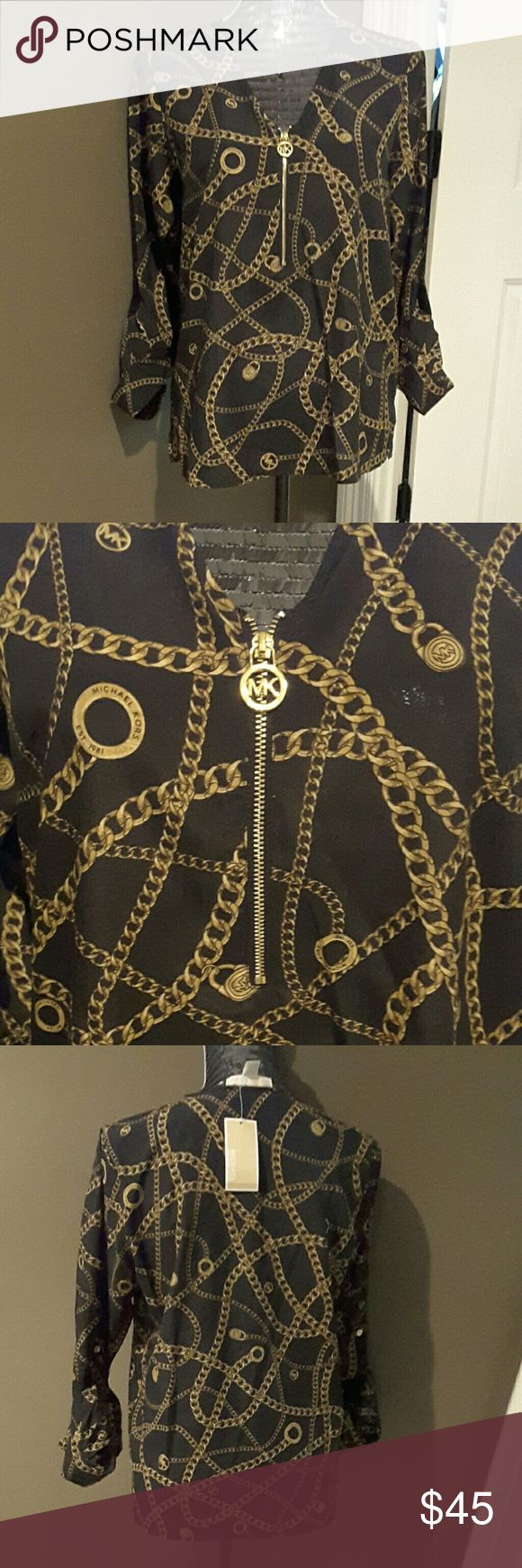 Michael Kors Chain Top Loose MK top with gold chain design and zipperee front MICHAEL Michael Kors Tops Blouses