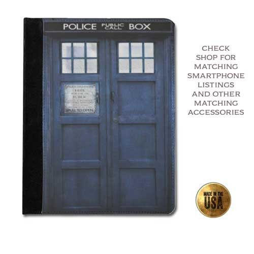 Perfect Leather tablet case Doctor Who inspired Tardis pull to open phone booth call box protective