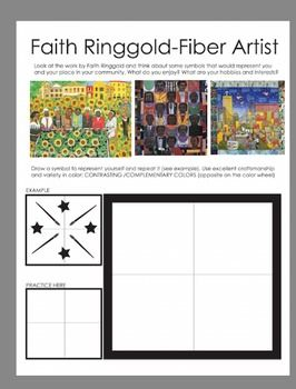 Creating a collaborative project is easy with this worksheet. American  Fiber Artist Faith Ringgold is reviewed and used as the basis for the project. This project is a great addition to any Black History Month lesson, fiber arts or community art lesson.