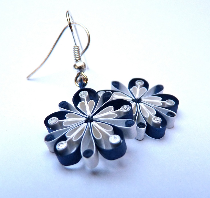 Earrings - Eco-friendly, quilled paper, Spring flowers. $24,00, via Etsy.