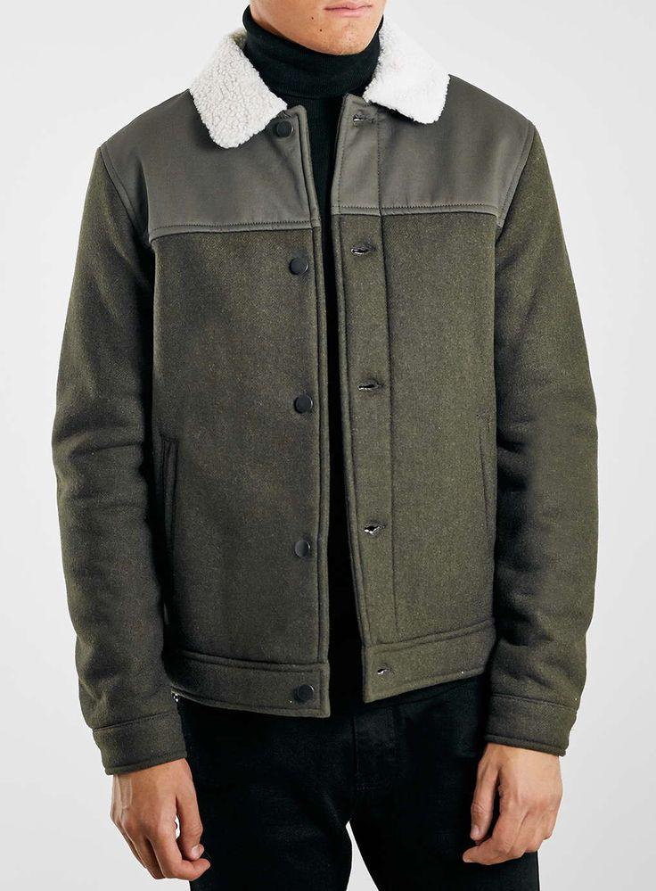 Khaki Borg Collar Jacket - Topman