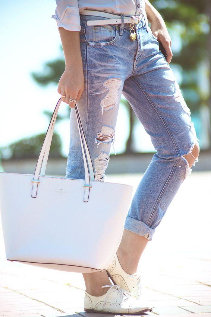 Olga choi fashion blogger myblondegal South Korea cowboy Oasap shirt boyfriend ripped jeans Kate Spade harmony tote J.Crew fedora hat-02382