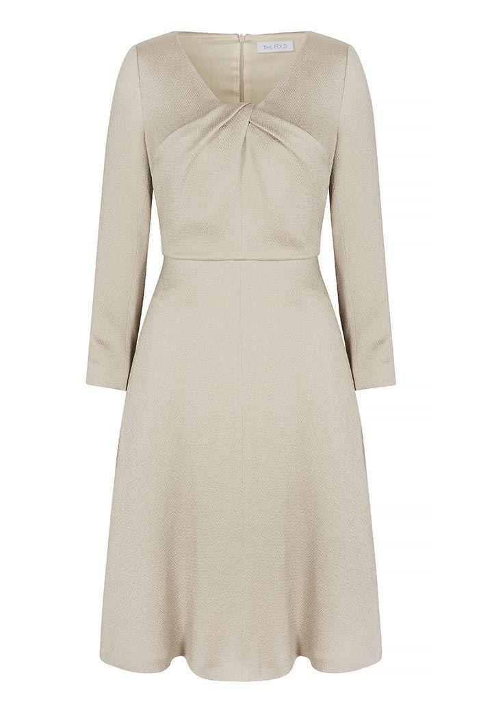 2da8a969d Bellevue Dress Oyster Textured Satin | Event Dressing