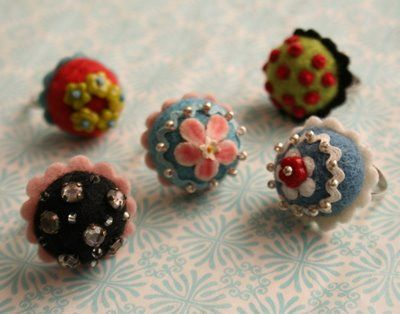 Felt Bon Bon Ring - Wool felt project  Pretty Little Felts by Julie Collings