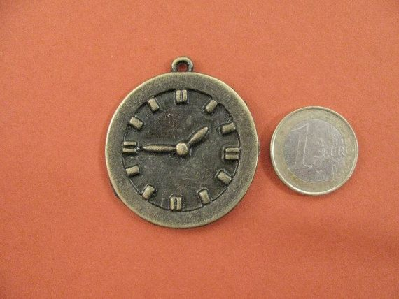 40mm Clock Charm Antique Bronze by Turkeysupply http://etsy.me/1IzDBys #etsy #jewelry #brass #gem #drop #disc #charm #jewelonpet