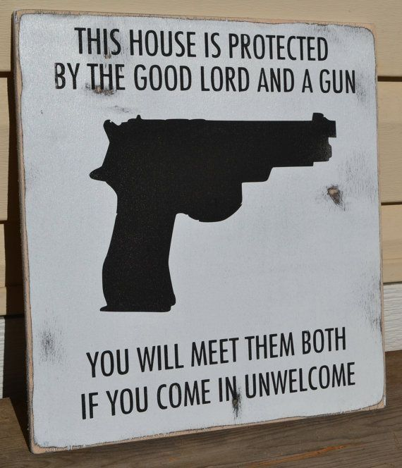 no trespassing signs, hand painted wood signs, house protected by guns, black and white, outdoor signs, humor, quotes housewarming gifts by Cldhatteras