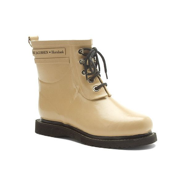 Ilse Jacobsen Rub2 Rain Boots (225 CAD) ❤ liked on Polyvore featuring shoes, boots, ankle booties, camel, rain boots, waterproof ankle boots, rubber boots, wellington boots and camel ankle boots