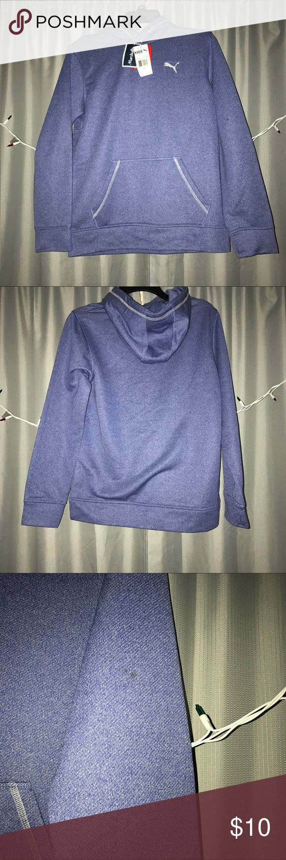 Shark blue puma sweatshirt Super comfy sweatshirt, new, bought with small stain on arm (shown in pictures), size large (kids) Puma Shirts & Tops Sweatshirts & Hoodies