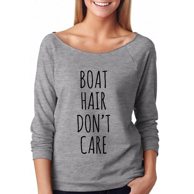 Boat Hair Don't Care, Wideneck Graphic Shirt