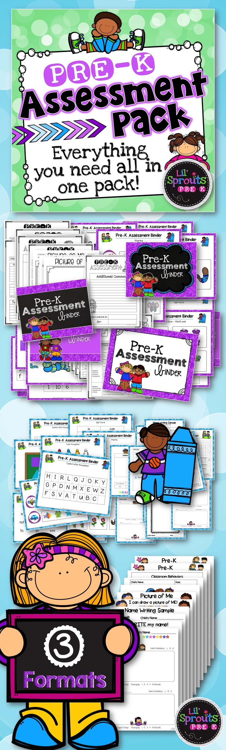 This Pre-K Assessment Pack includes everything you need for assessing your students! Perfect for back to school! I created this Assessment Pack using the Pre-K Common Core. It includes everything you need to assess your kids (except manipulatives for patterning and counting). I send these reports home three times a year. I've had a lot of positive feedback from parents on these.   Lil' Sprouts Pre-K