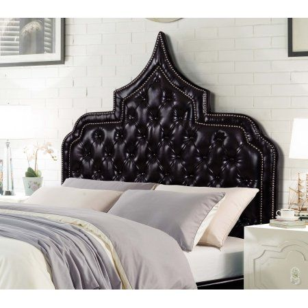 Chic Home Fonda PU Leather Modern Contemporary Button Tufted with Silver Nail heads Trim Queen Size Headboard, Black