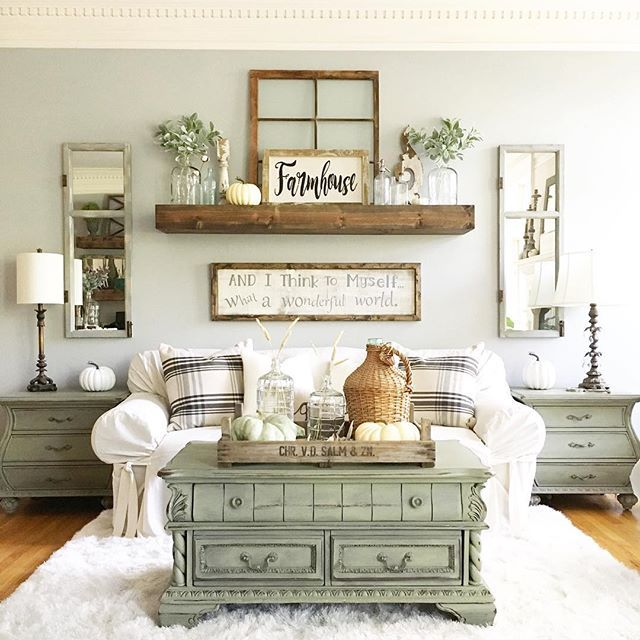 Wall Decorations For Living Room Paint Ideas With Wood Trim Coffee Table Shelf Couch A Symmetrical Very Soothing Arrangement Home Decor Pinterest And Farmhouse