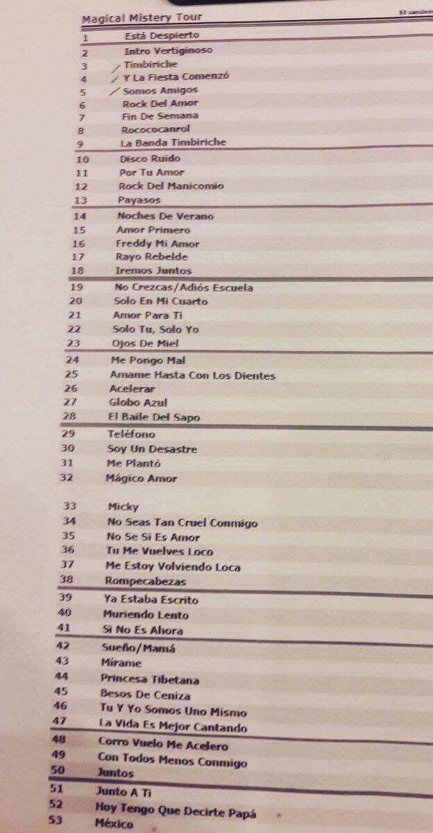 Canciones TourJuntos Timbiriche 35