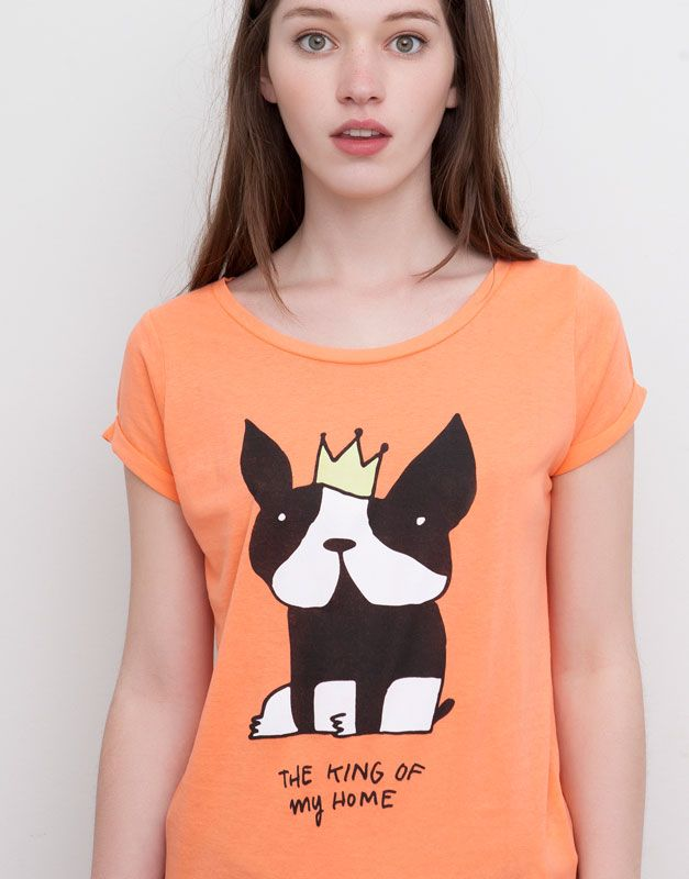 Pull&Bear - femme - t-shirts et tops - t-shirt imprimé dog - rouge corail - 05241399-I2015
