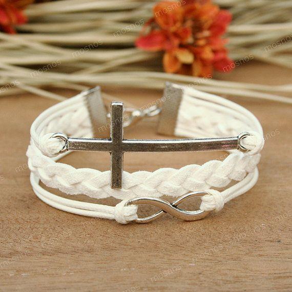 Cruz  blanco infinito pulsera pulsera de regalo único por Umonster