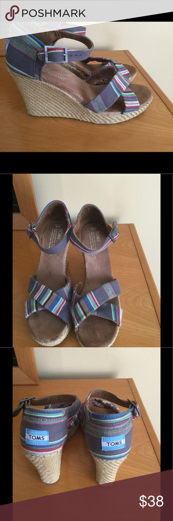 Gently worn Toms wedge ankle strap sandals . Pristine condition , no rips or spots , minimum wear Toms wedges .❌Price firm TOMS Shoes Platforms