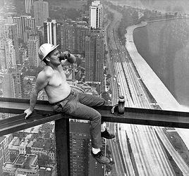 Taking a break during construction of the Hancock Building, 1965