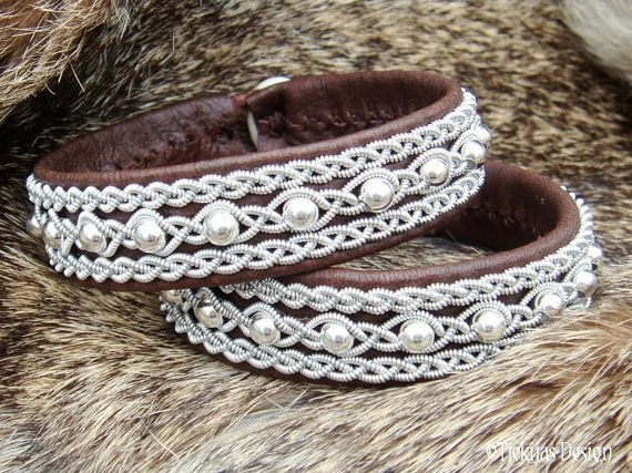 Antique Brown Leather Lapland Bracelet YDUN Swedish Sami Jewelry with Pewter and Sterling Silver Beads on Silksoft Reindeer Leather Custom Handmade.