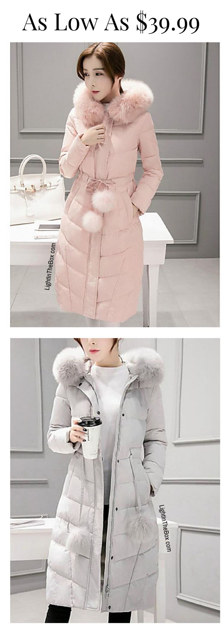 Warm solid long winter down coat for women! Beautiful candy colours - pearl pink, ivory white, sky blue ... Just at $39.99. Click to shop.